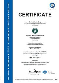 TÜV certificate for quality management system for the production and distribution of sheet metal constructions according to ISO 9001: 2015.