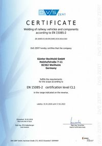 DVS certificate for welding rail vehicles and vehicle parts according to EN 15085-2 in certification level CL1.